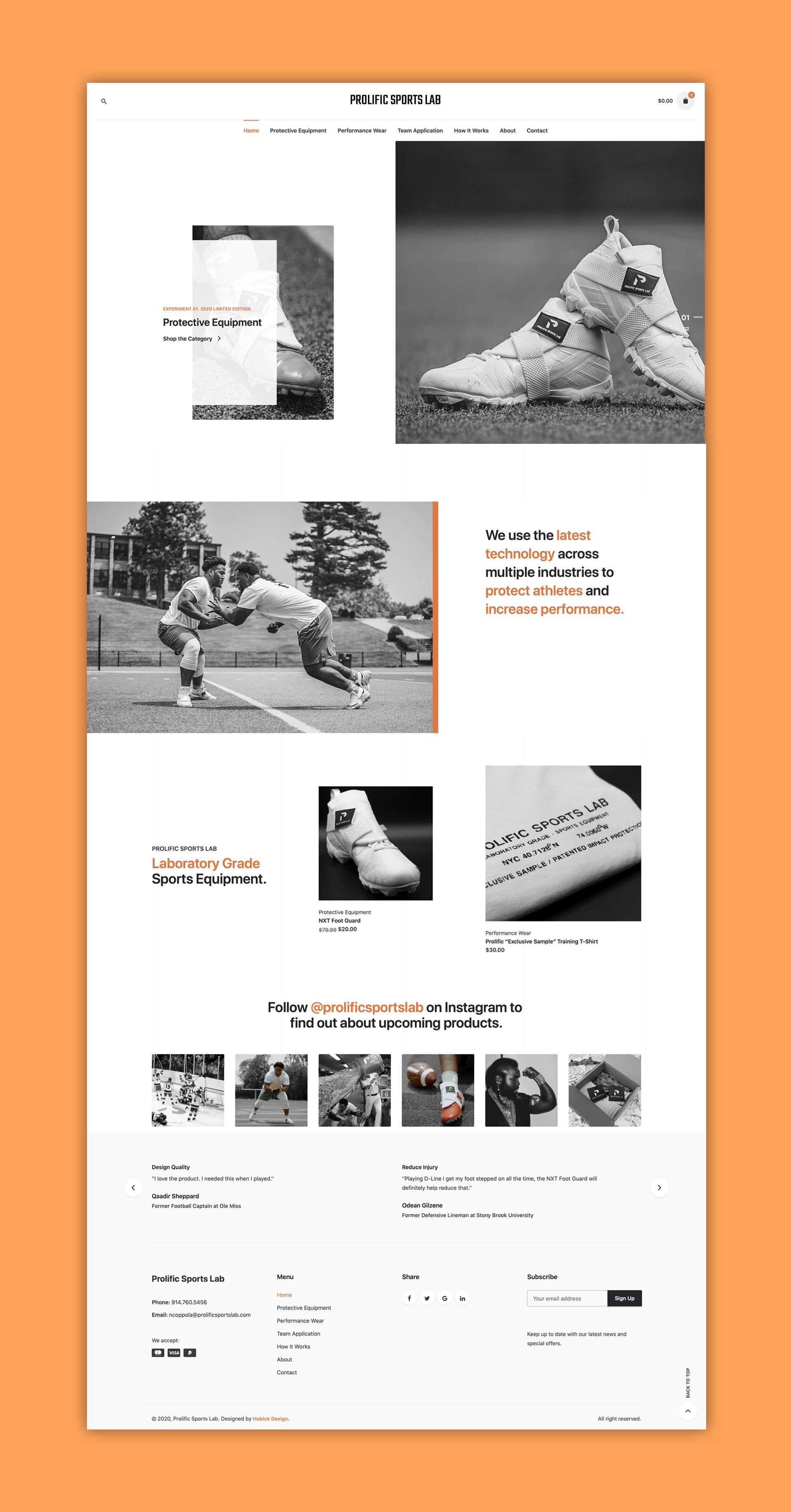 Prolific Sports Lab Full Website Image
