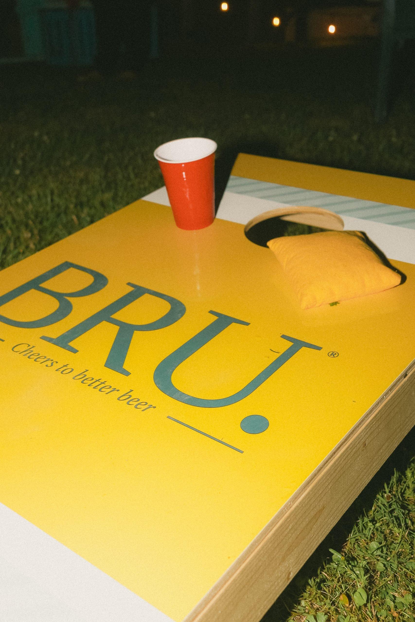 BRU Beer Cornhole Board